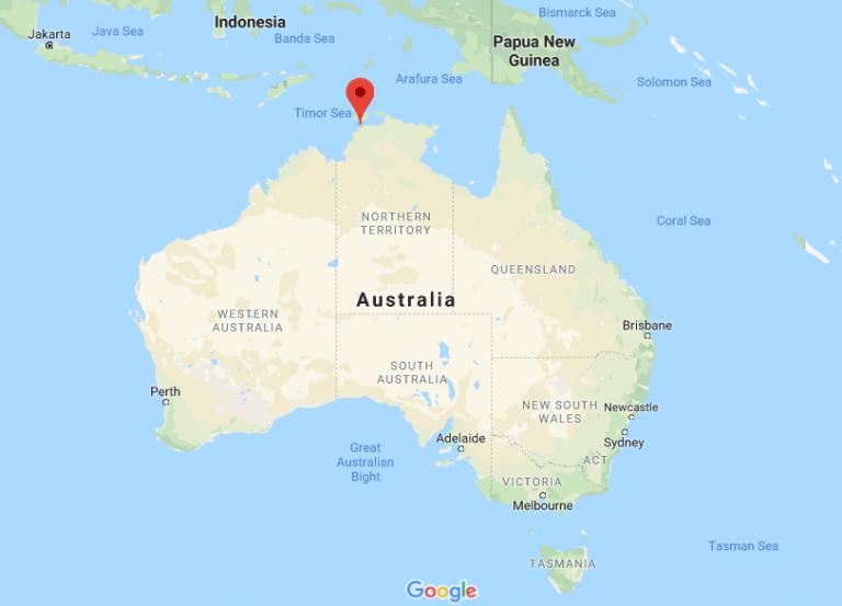 Darwin location pin on map