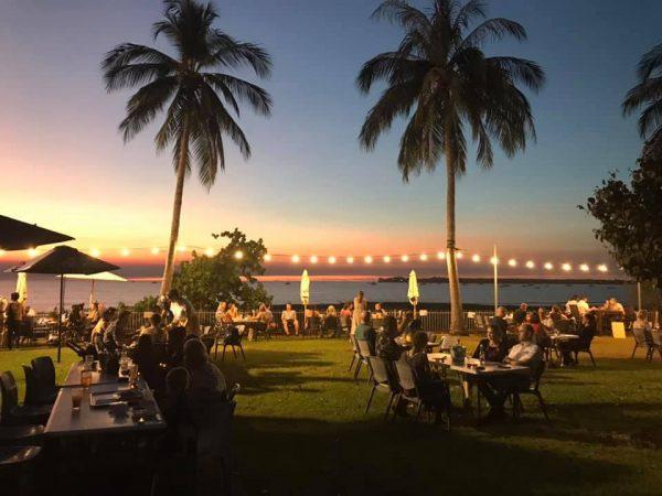 Darwin Ski Club, beachside bar with palms